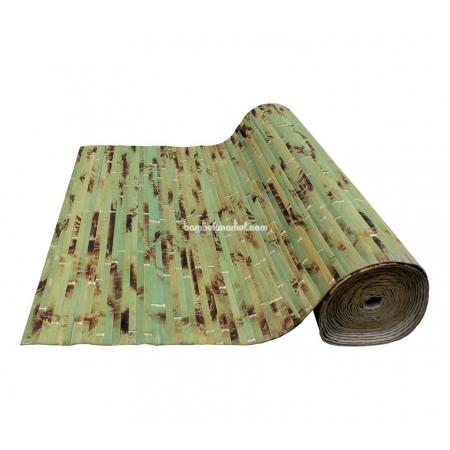 Бамбуковые обои, ширина 1,5м, черепаха зеленая, матовый лак, планка 17мм - фото 1