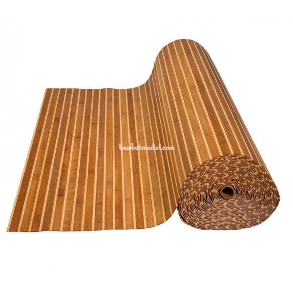 Бамбуковые обои, 10х1,8м, комби темно/светлые, глянцевый лак, полоса 17/5мм – фото 9